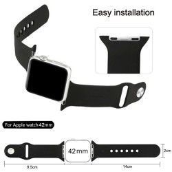 Apple Watch 38mm Siliconen Horlogeband Zwart (incl Connectors)