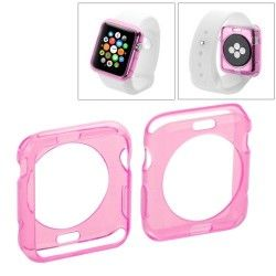 Apple Watch 42mm transparant TPU hoesje, case, frontje Roze