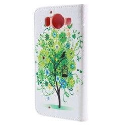 Microsoft Lumia 950 Flip cover, case, hoes Green flower tree
