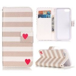 iPhone 7 Plus - Flip hoes, cover, case - PU leder - TPU - Strepen - Beige