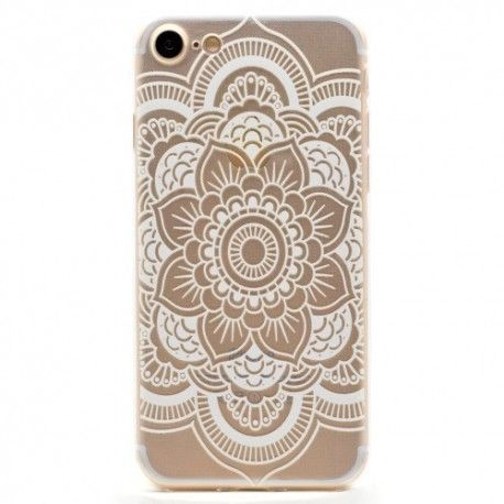 iPhone 7 (4.7 Inch) - hoes, cover, case - TPU - Transparant - Witte bloemen