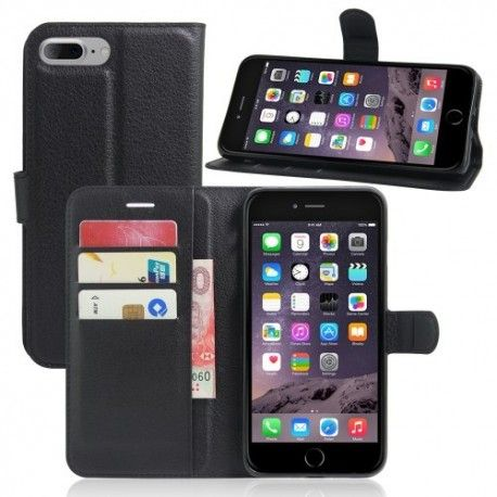 iPhone 7 Plus (5.5 inch) - Flip hoes, cover, case - PU leder - TPU - Zwart