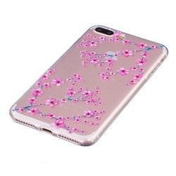 iPhone 7 Plus (5.5 inch) - hoes, cover, case - TPU - Transparant - Cherry blossom
