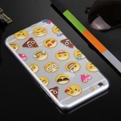 iPhone 6(S) Plus (5.5inch) - Hoes, case, cover - TPU - Transparant - Emoji