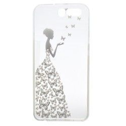 Huawei P10 - hoes, cover, case - TPU - Transparant - Vrouw met vlinders