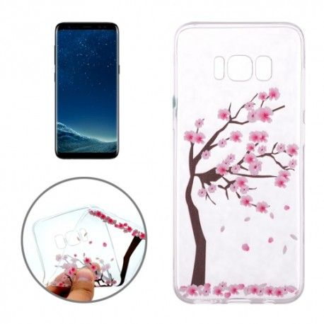 Samsung Galaxy S8 - hoes, cover, case - TPU - Transparant - Kersen bloesem