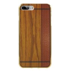 iPhone 7 Plus (5.5 Inch) - hoes, cover, case - TPU - Donker houten print