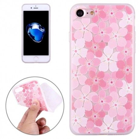 iPhone 7 (4.7 Inch) - hoes, cover, case - TPU - Roze Perzik bloesem