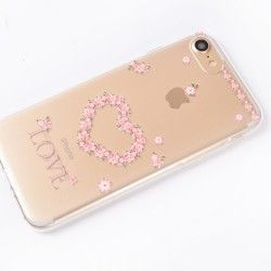 iPhone 7 (4.7 Inch) - hoes, cover, case - TPU - Transparant - Bloemen liefde