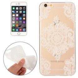 iPhone 6(S) (4.7 inch) - hoes, cover, case - TPU - Transparant - Witte bloemen