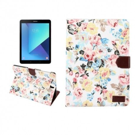 Samsung Galaxy Tab S3 9.7 - hoes, cover, case - PU leder - stof - Bloemen