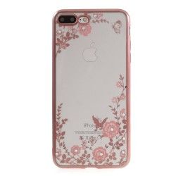 iPhone 7 Plus (5.5 Inch) - hoes, cover, case - TPU - Transparant - Roze bloemen