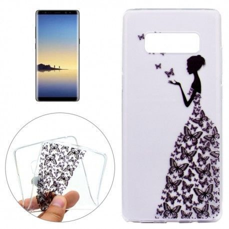 Samsung Galaxy Note 8 - hoes, cover, case - TPU - Transparant - Vrouw met vlinders