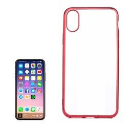 iPhone X / XS - hoes, cover, case - TPU - Transparant - Roze randjes