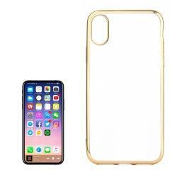 iPhone X - hoes, cover, case - TPU - Transparant - Goudkleurige randjes