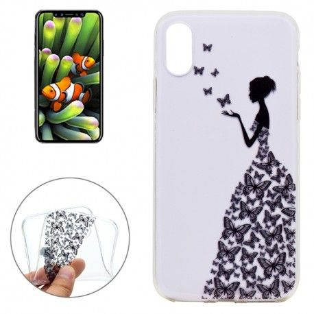 iPhone X - hoes, cover, case - TPU - Transparant - Vrouw met vlinder