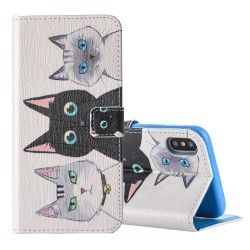iPhone X - Flip hoes, cover, case - PU Leder - TPU - Katten