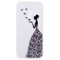 Samsung Galaxy S9 - hoes, cover, case - TPU - Transparant - Vrouw met vlinder