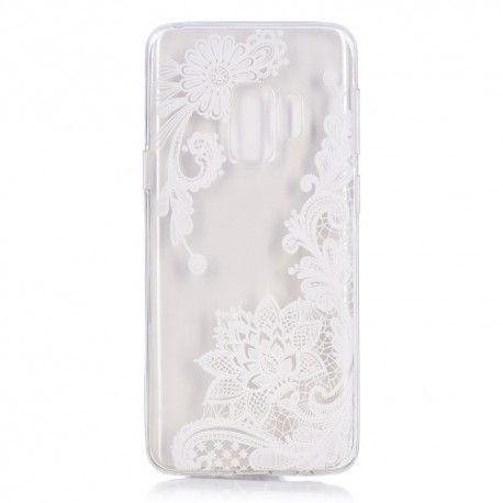 Samsung Galaxy S9 - hoes, cover, case - TPU - Transparant - Witte bloem