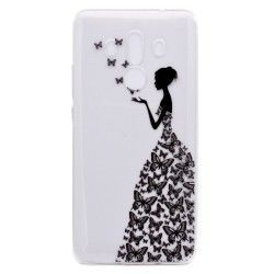 Huawei Mate 10 Pro - hoes, cover, case - TPU - Transparant - Vrouw met vlinder