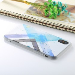 iPhone X - hoes, cover, case - TPU - Geometrisch patroon - Blauw