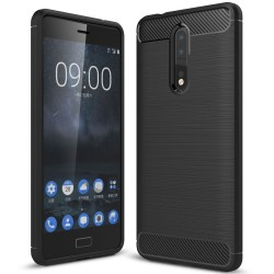 Nokia 8 - hoes, cover, case - TPU - Carbon - Zwart