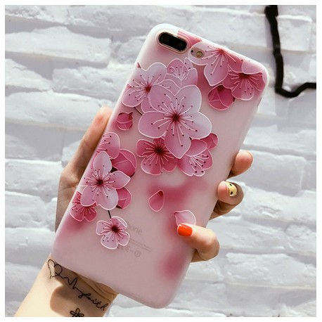 iPhone X - hoes, cover, case - TPU - Roze bloesem
