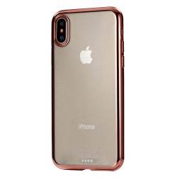 iPhone XR (6,1 inch) - hoes, cover, case - TPU - Transparant - Roze rand