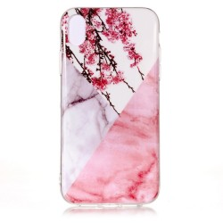 iPhone XS Max (6,5 inch) - hoes, cover, case - TPU - Bloesem en Marmer