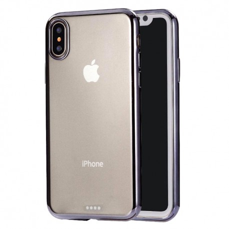 iPhone XS Max (6,5 inch) - hoes, cover, case - TPU - Transparant - Zwarte randen
