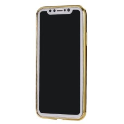 iPhone XS Max (6,5 inch) - hoes, cover, case - TPU - Transparant - Goudkleurige randen