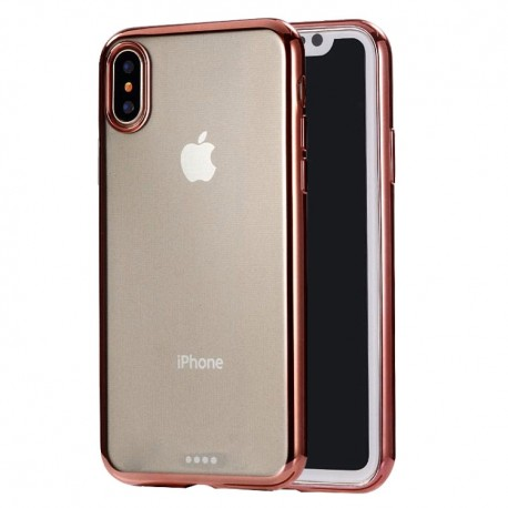 iPhone XS Max (6,5 inch) - hoes, cover, case - TPU - Transparant - roze rand