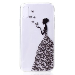 iPhone XS Max (6,5 inch) - hoes, cover, case - TPU - Transparant - Vrouw met vlinders