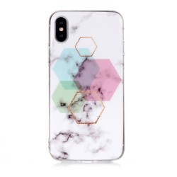 iPhone XS Max (6,5 inch) - hoes, cover, case - TPU - Marmer - 6-Hoek