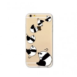 iPhone X / XS - hoes, cover, case - TPU - Transparant - Panda