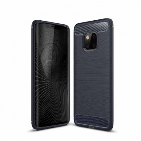 Huawei Mate 20 Pro - hoes, cover, case - TPU - Carbon fiber textuur -Donker blauw