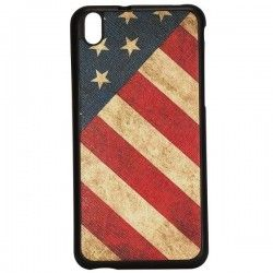 HTC Desire 816 Leather coated TPU USA Flag cover, case, hoesje, frontje