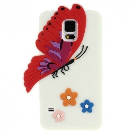 Samsung S5 Silicone hoes, case, frontje Butterfly