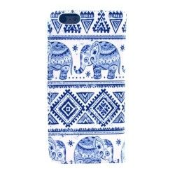 iPhone 6 Plus (5.5 inch) Flip Cover, hoesje, case Elephant wit / blauw